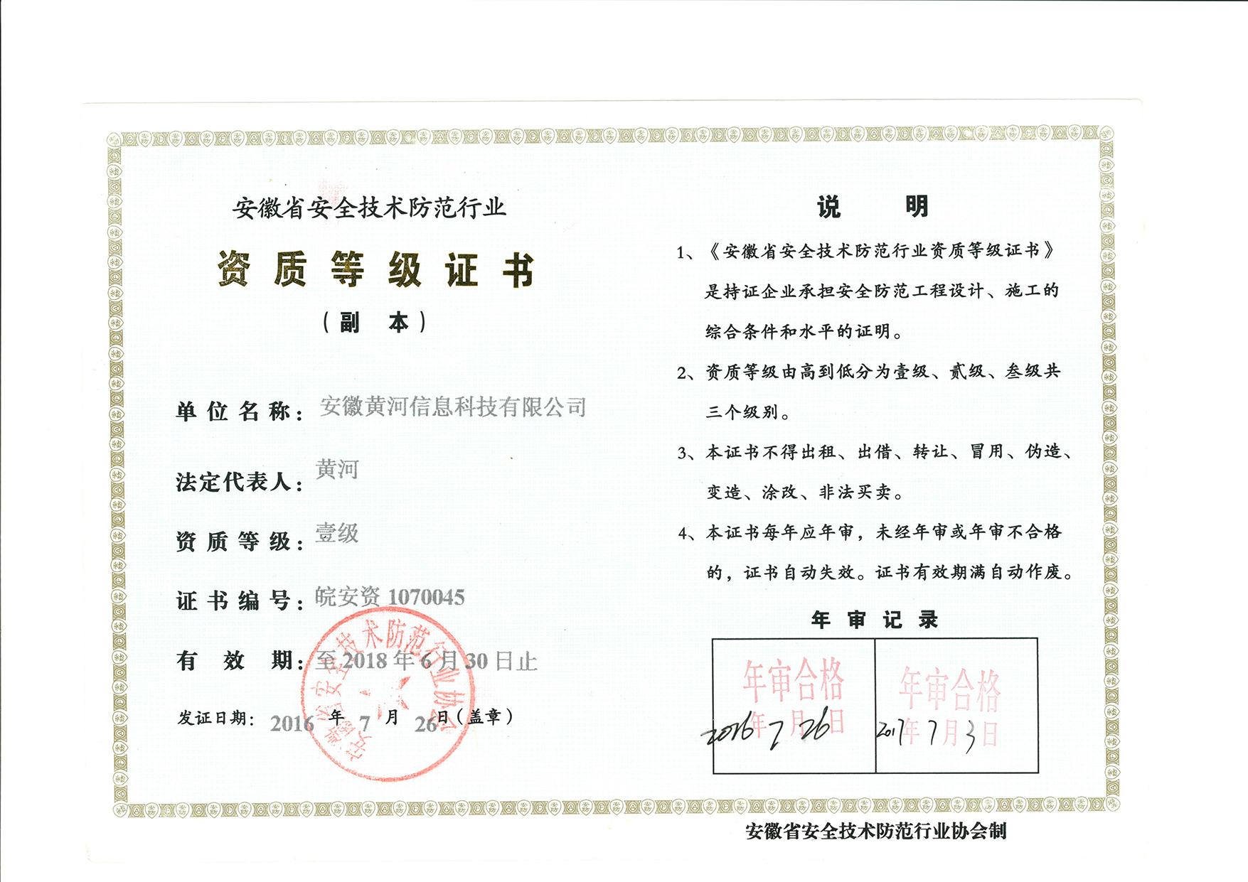 2017年年檢安防證書